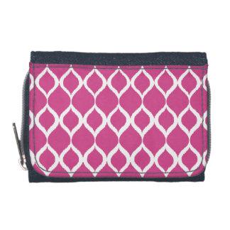 Hot Pink Geometric Ikat Tribal Print Pattern Wallets
