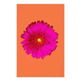 Hot Pink Gerbera Daisy on Orange Stationery Design