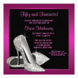 Hot Pink Glitter High Heels Womans 50th Brithday Personalized Announcement