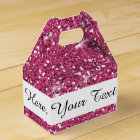 Hot Pink Glitter Printed Favour Box
