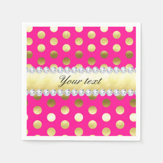 Hot Pink Gold Foil Polka Dots Diamonds Disposable Napkin