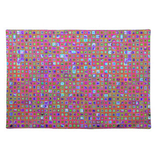 Hot Pink, Green And Purple Funky Tiles Pattern Placemat
