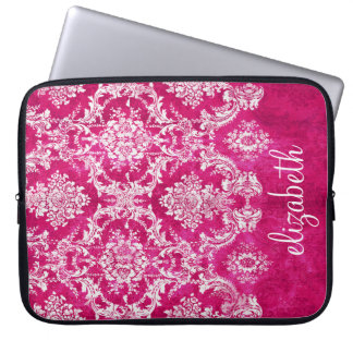 Hot Pink Grunge Damask Pattern Custom Text Laptop Sleeve