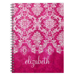 Hot Pink Grunge Damask Pattern Custom Text Notebooks
