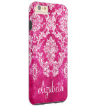 Hot Pink Grunge Damask Pattern Custom Text Tough iPhone 6 Plus Case