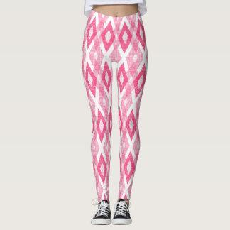 Hot Pink Grunge Harlequin Pattern Leggings