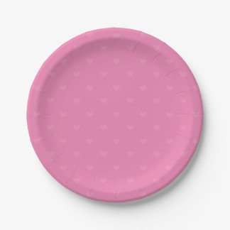 Hot Pink Heart Love Wedding / Party 7 Inch Paper Plate
