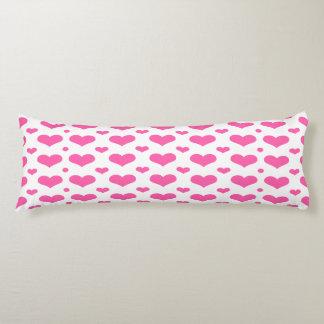 Hot Pink Hearts in a Row Custom Body Pillow Body Cushion