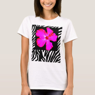 Hot Pink Hibiscus on Zebra Print t-shirt