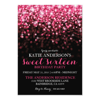 """Hot Pink Hollywood Glitter Sweet Sixteen Party 5"""" X 7"""" Invitation Card"""