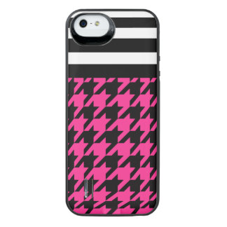 Hot Pink Houndstooth w/ Stripes 2 iPhone SE/5/5s Battery Case
