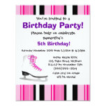 "Hot Pink Ice Skating Birthday Party - Pink Stripe 4.25"" X 5.5"" Invitation Card"