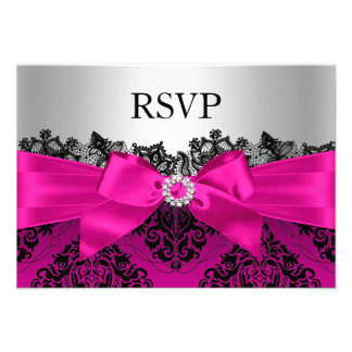 Hot Pink Lace Damask & Bow RSVP Personalized Invite