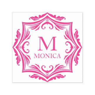 Hot Pink Monica Elegant Swirls Monogrammed Self-inking Stamp