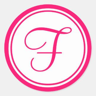 Hot Pink, Monogram F Wedding Label Round Sticker