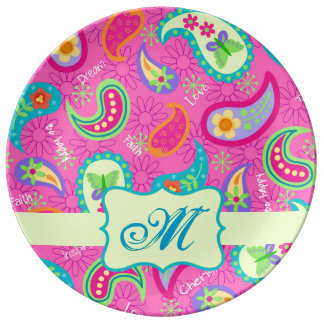 Hot Pink Monogram Personalized Modern Paisley Porcelain Plates