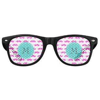 Hot Pink Mustache Pattern, Teal Black Monogram Retro Sunglasses