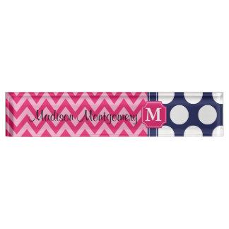 Hot Pink & Navy Chevron Zigzag Polka Dots Monogram Nameplate