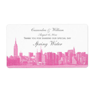 Hot Pink NYC Wide Skyline Etched Water Bottle Shipping Label