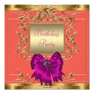 Hot Pink, Orange and Gold Birthday Party 13 Cm X 13 Cm Square Invitation Card