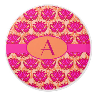 Hot Pink Orange Art Nouveau Damask Monogram Ceramic Knob