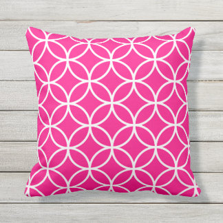 Hot Pink Outdoor Pillows - Circle Trellis