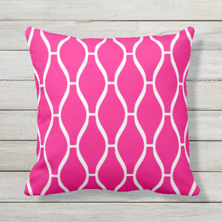 Hot Pink Outdoor Pillows - Greek Trellis