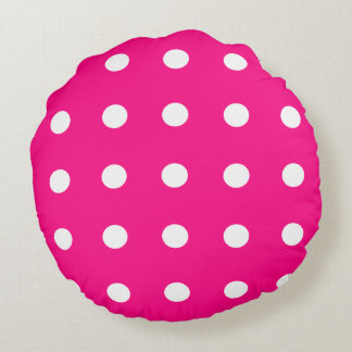 Hot Pink Polka Dot Pattern Round Cushion
