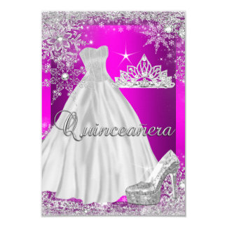 Hot Pink Quinceanera 15th Birthday Party 9 Cm X 13 Cm Invitation Card