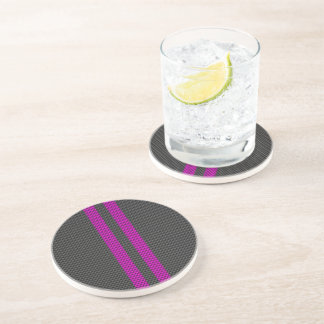 Hot Pink Racing Stripes in Carbon Fiber Style Coasters
