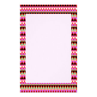 Hot Pink Red Mint and Black Tribal Style Pattern Stationery