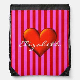 Hot Pink, Red Stripes, Red Metallic Heart Monogram Drawstring Bag