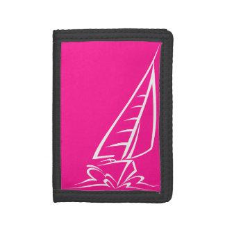 Hot Pink Sailing Tri-fold Wallets