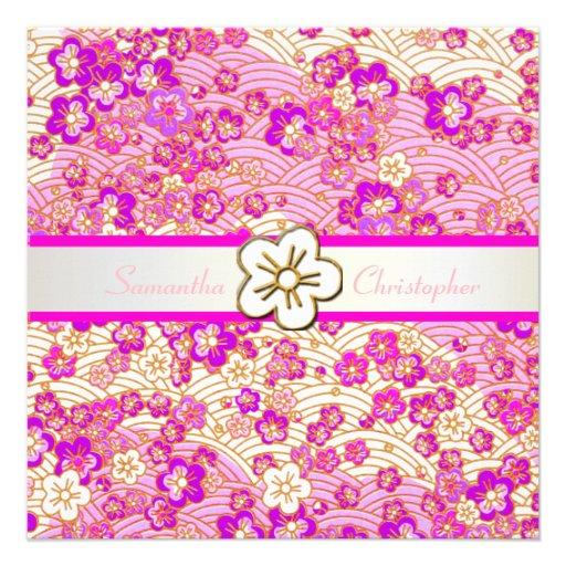 Hot Pink Sakura Chirimen wedding invitations