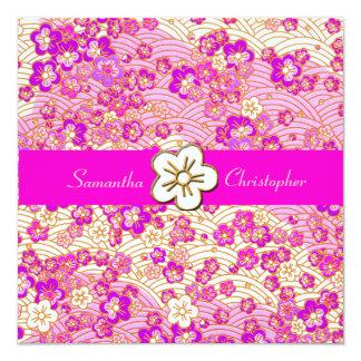 "Hot Pink Sakura Chirimen wedding invitations 5.25"" Square Invitation Card"