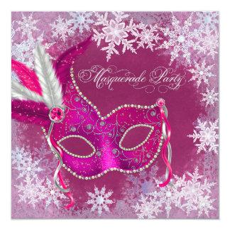 Hot Pink Snowflake Masquerade Party Invitations