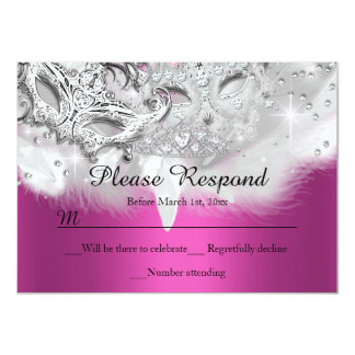 Hot Pink Sparkle Masquerade RSVP Reply 4.5x6.25 Paper Invitation Card