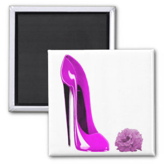 Hot Pink Stiletto Shoe and Rose Refrigerator Magnets