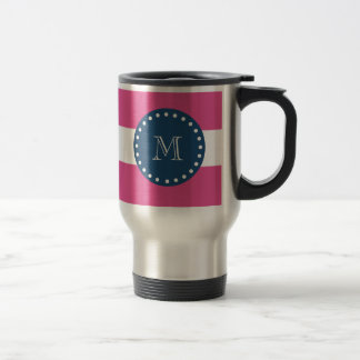 Hot Pink Stripes Pattern, Navy Blue Monogram Coffee Mug