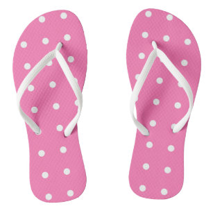 Hot Pink Template Rustic Design White Dotted Trend Jandals