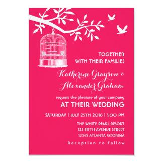Hot Pink Vintage Bird Cage Wedding Invitation