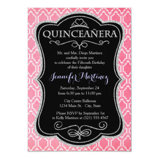 Hot Pink, Vintage Quatrefoil Invitations