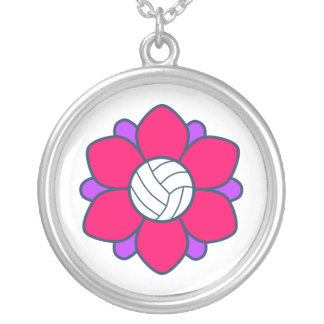 Hot Pink Volleyball Girl Personalized Necklace