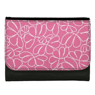 Hot Pink Whimsical Ikat Floral Doodle Pattern Wallets
