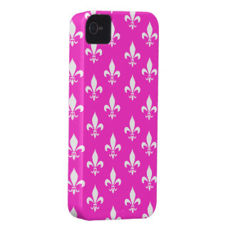 Hot Pink & White Fleur De Lis Pattern iPhone 4 Case