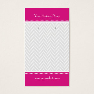 Hot Pink White Gray Herringbone Earring Cards