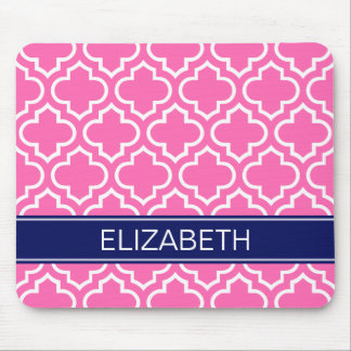 Hot PInk Wht Moroccan #6 Navy Blue Name Monogram Mouse Pad