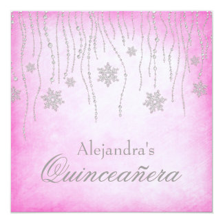 Hot Pink Winter Wonderland Snowflakes Quinceanera 13 Cm X 13 Cm Square Invitation Card