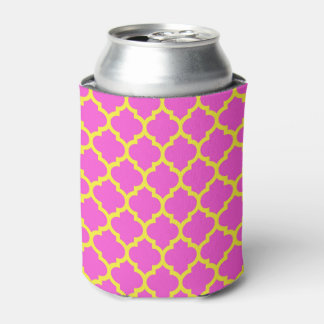 Hot Pink Yellow Moroccan Quatrefoil Pattern #5 Can Cooler