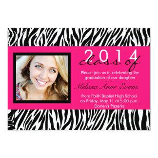 Hot Pink Zebra Class of 2014 Graduation Invitation